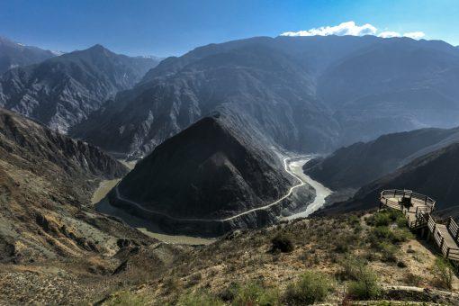 Scenic Omega Bend of Yangtze River Yunnan, China.